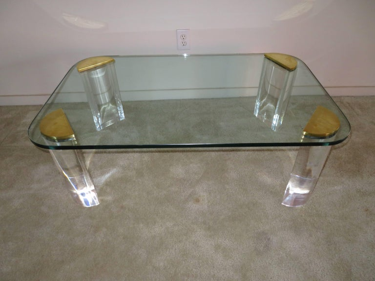 Chunky Lucite Brass Coffee Table Midcentury For Sale 2