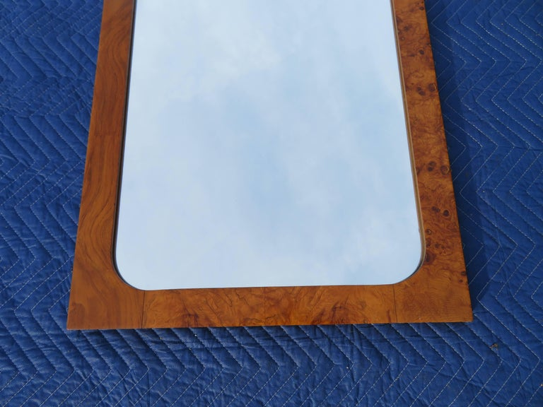 Roland Carter for Lane Olive Wood Mirror Mid-Century Modern In Good Condition For Sale In Pemberton, NJ