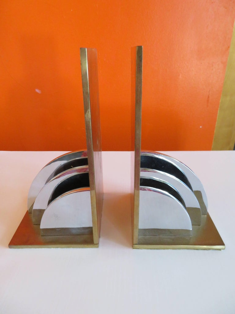 Gorgeous pair of Walter Von Nessen attributed heavy brass and chrome bookends.