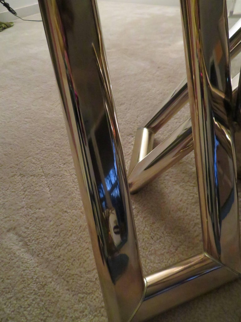 Interesting Pair 1970s Brass Geometric Modern Side Table Mid-Century Modern In Good Condition For Sale In Pemberton, NJ