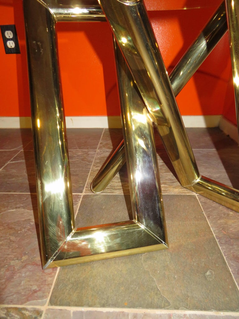 Interesting Pair 1970s Brass Geometric Modern Side Table Mid-Century Modern For Sale 1