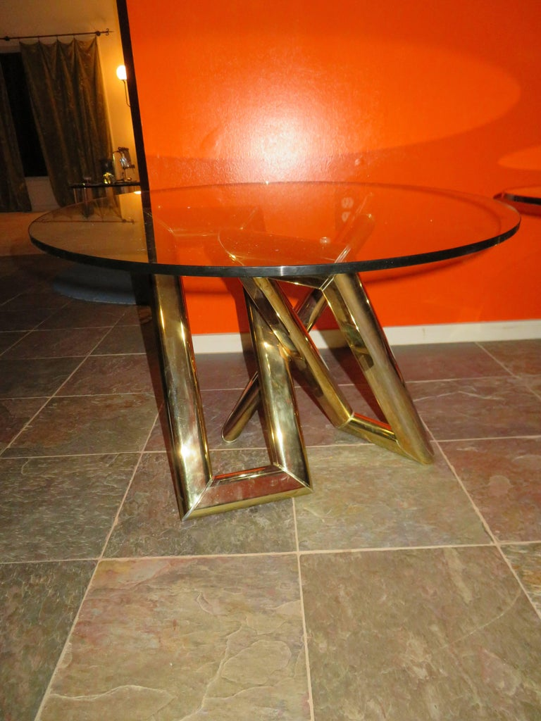 Interesting Pair 1970s Brass Geometric Modern Side Table Mid-Century Modern For Sale 2