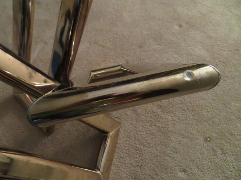 Plated Interesting Pair 1970s Brass Geometric Modern Side Table Mid-Century Modern For Sale