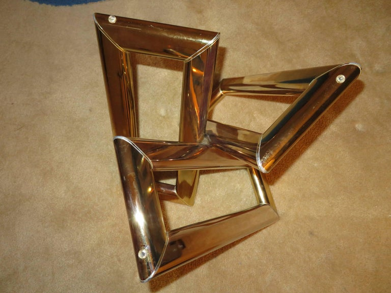 Glass Interesting Pair 1970s Brass Geometric Modern Side Table Mid-Century Modern For Sale