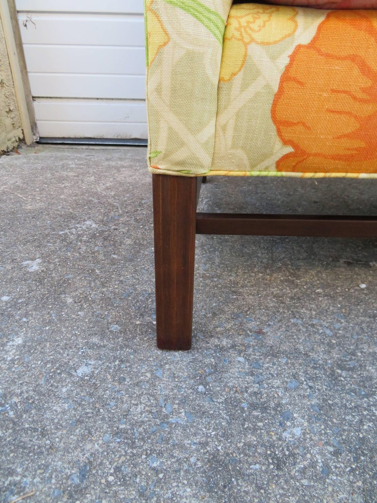 Upholstery Wonderful Flowered Linen Chippendale Style Camelback Loveseat Sofa, Midcentury For Sale