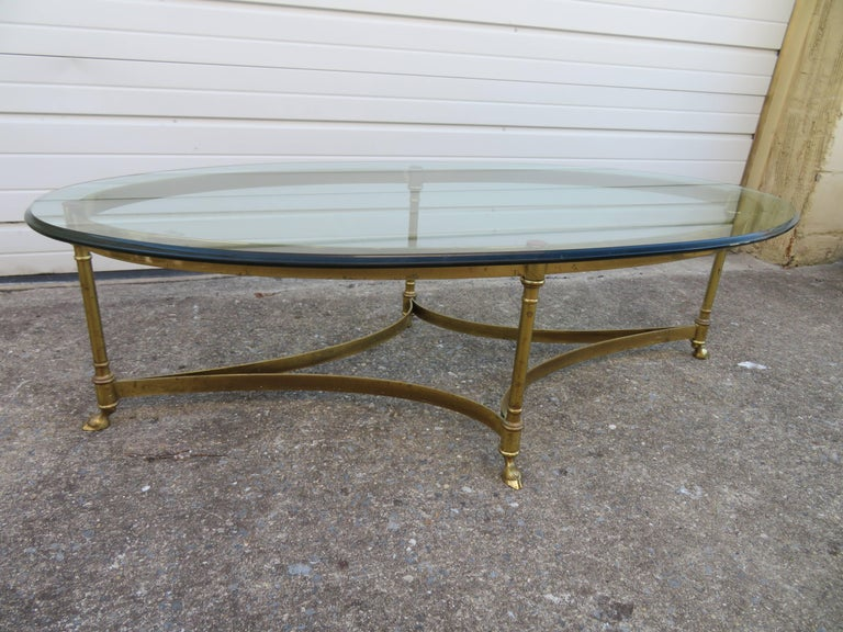 Stunning Brass and Glass Midcentury Labarge Hoof Cocktail Table Regency Modern For Sale 2