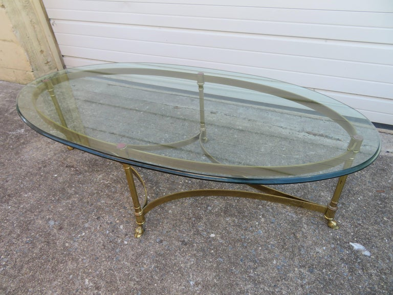 Stunning Brass and Glass Midcentury Labarge Hoof Cocktail Table Regency Modern For Sale 4