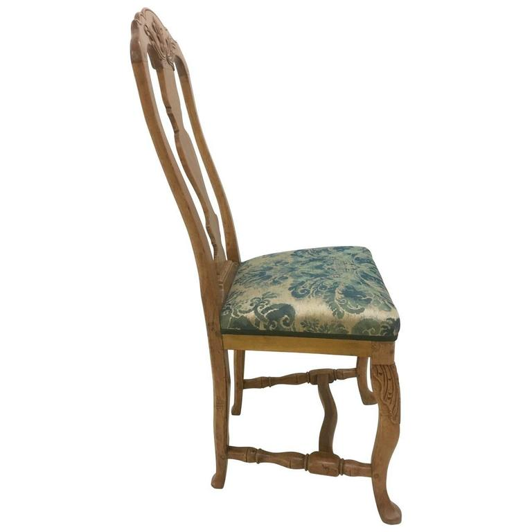 Wood Pair of Danish Rococo Dining Room Chairs For Sale
