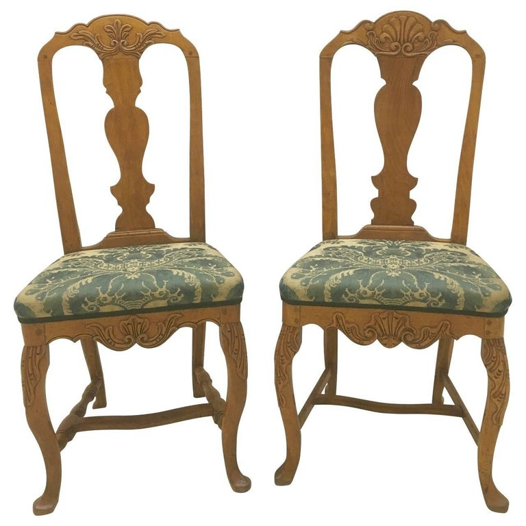 Pair of Danish Rococo Dining Room Chairs For Sale