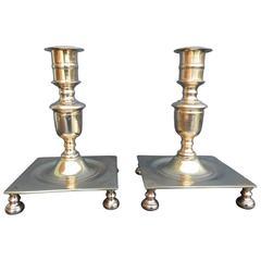 Pair of Large Danish Baroque Brass Candlesticks