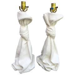 Pair of J. Dickinson Style Draped Plaster Lamps