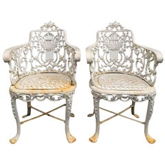 Pair of Early Cast Iron Patio Armchairs, Robert Wood Foundry