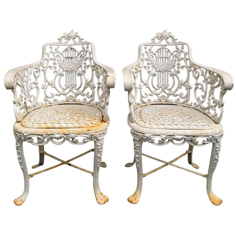 Pair of Early Cast Iron Patio Armchairs, Robert Wood Foundry For Sale