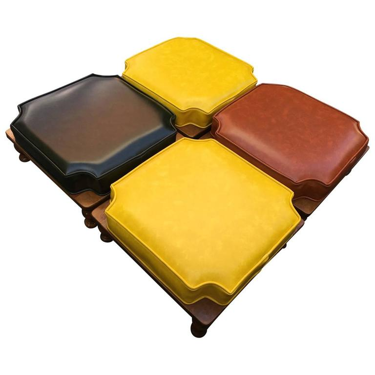 Set Of Mid Century Stacking Ottomans At 1stdibs