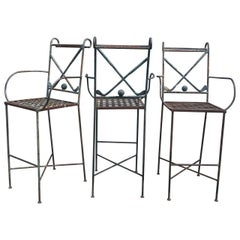 Set of Three Metal Golf Bar Chairs