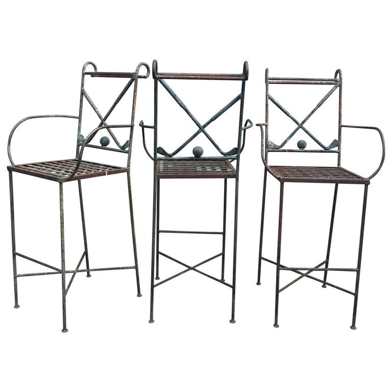 Set Of Three Metal Golf Bar Chairs For Sale At 1stdibs