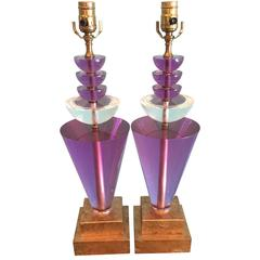 Pair of Lucite Table Lamps by Van Teal, Signed