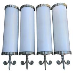 Set of Four Amazing Art Deco Wall Sconces