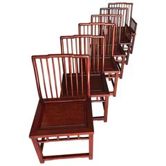 Set of Six Elegant Chinese Hardwood Dining Room Chairs