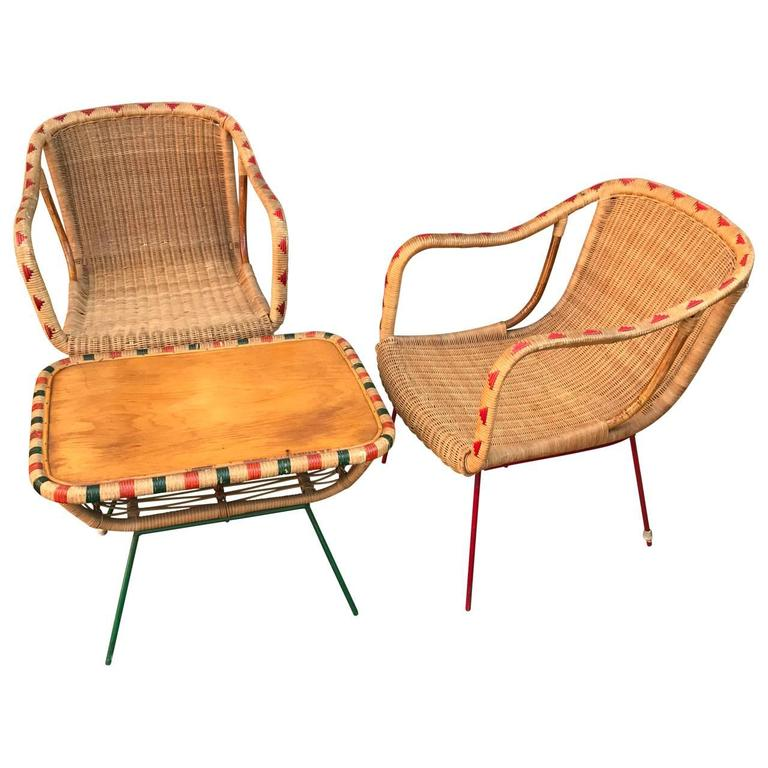 Italian Wicker Patio Furniture Set, Table and Two Chairs, circa 1930s 1 - Italian Wicker Patio Furniture Set, Table And Two Chairs, Circa