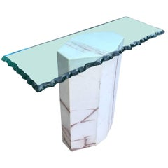 Mid-Century Modern Octagon Glass-Top Marble Console