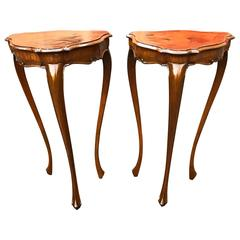 Pair of Italian Rococo Fruitwood Side Tables