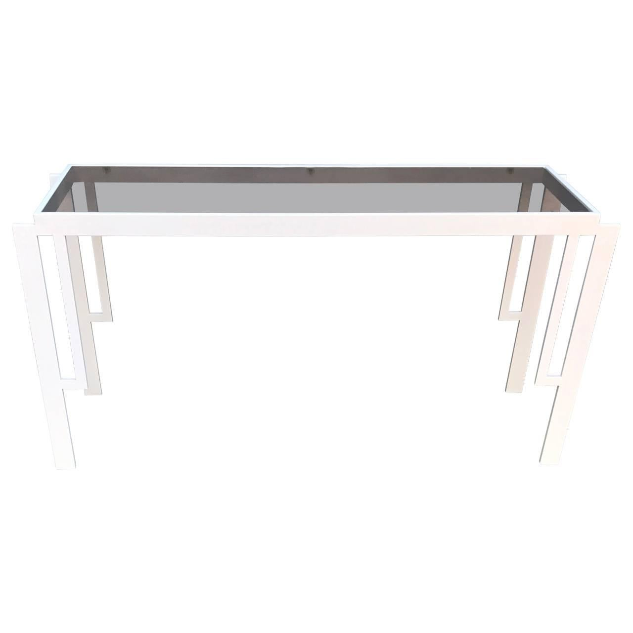 Vintage Midcentury White Painted Brass Console