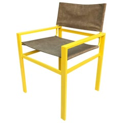 Mid-Century Modern Director Armchair Faux Suede and Powder Coated in Yellow