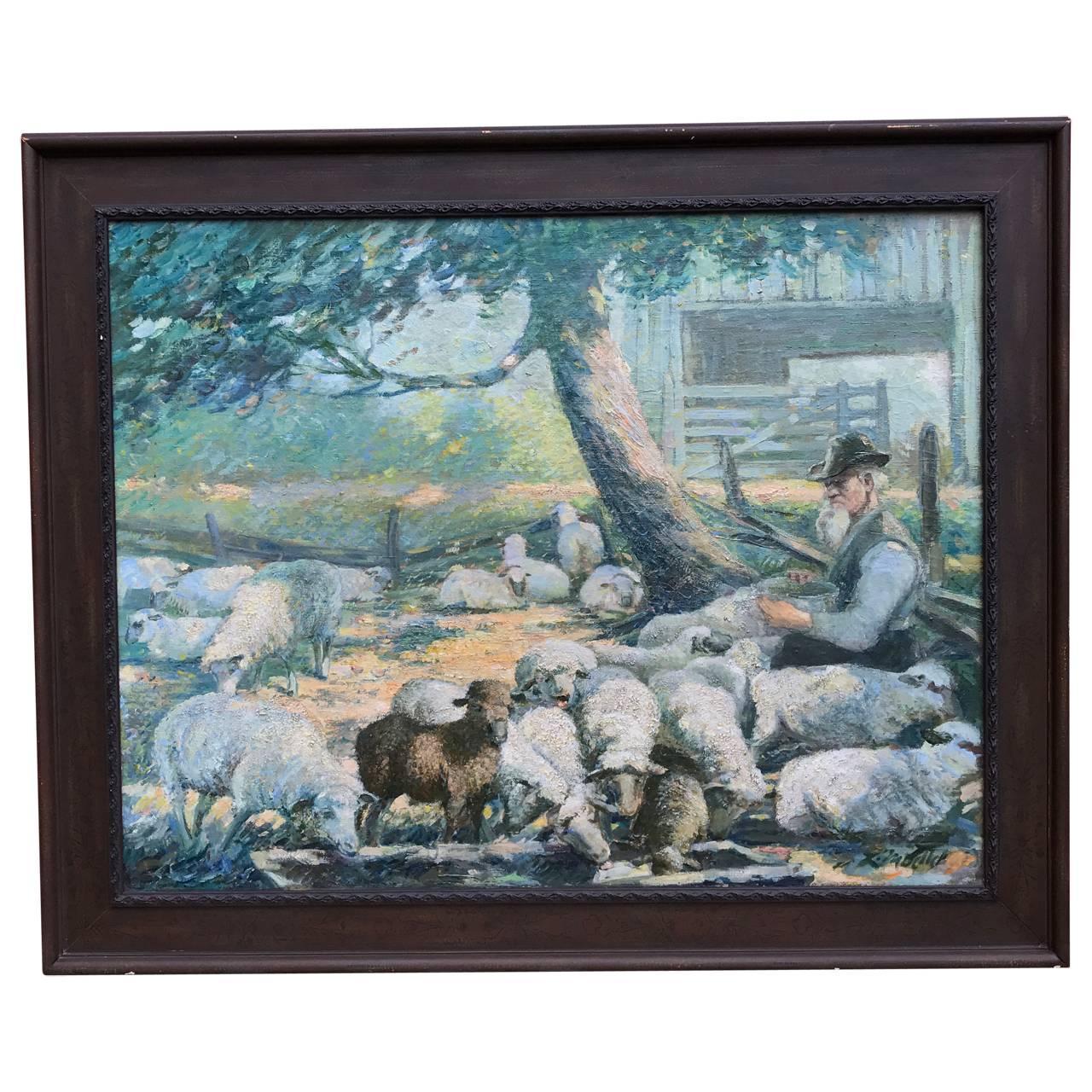 20th Century Oil Painting Of Shepherd Tending Flock of Sheep, Louis F Mueller