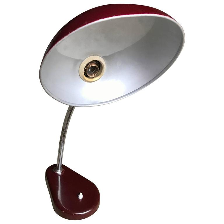 Painted Italian Oxe Red Mid-Century Modern Desk Lamp For Sale