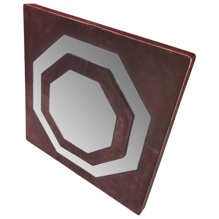 Hand-Crafted Mid-Century Modern Suede Mirror by Schlesinger Brothers For Sale