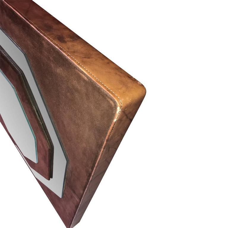 American Mid-Century Modern Suede Mirror by Schlesinger Brothers For Sale