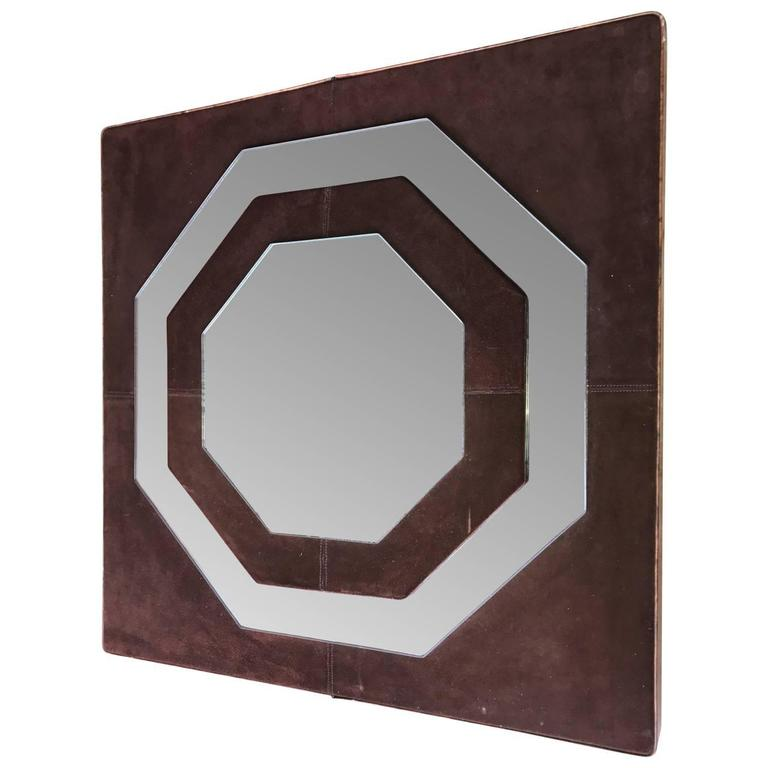 Mid-Century Modern Suede Mirror by Schlesinger Brothers In Good Condition For Sale In Haddonfield, NJ