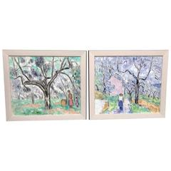 Pair of Impressionist Oil Paintings, Haiti