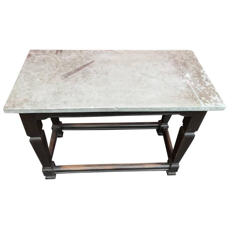 Painted Swedish Gustavian Stone Top Table, Sweden For Sale