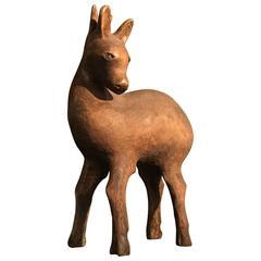 Small Wooden Deer Sculpture