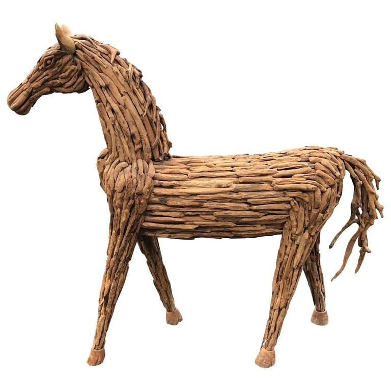 Lifesize Reclaimed Wood Equine Sculpture