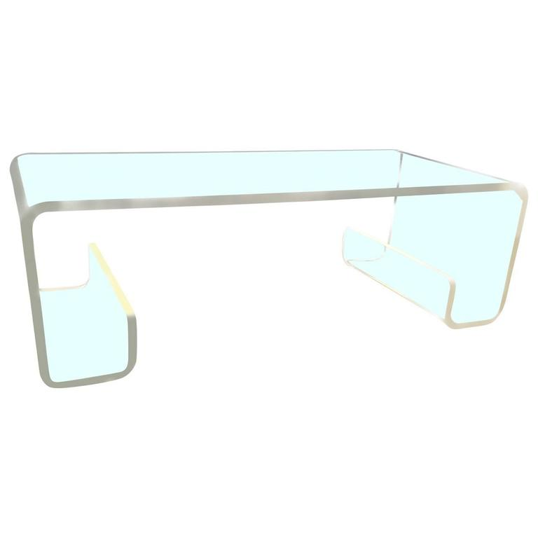 Mcm Lucite Waterfall Coffee Table In The Manner Of Charles Hollis Jones