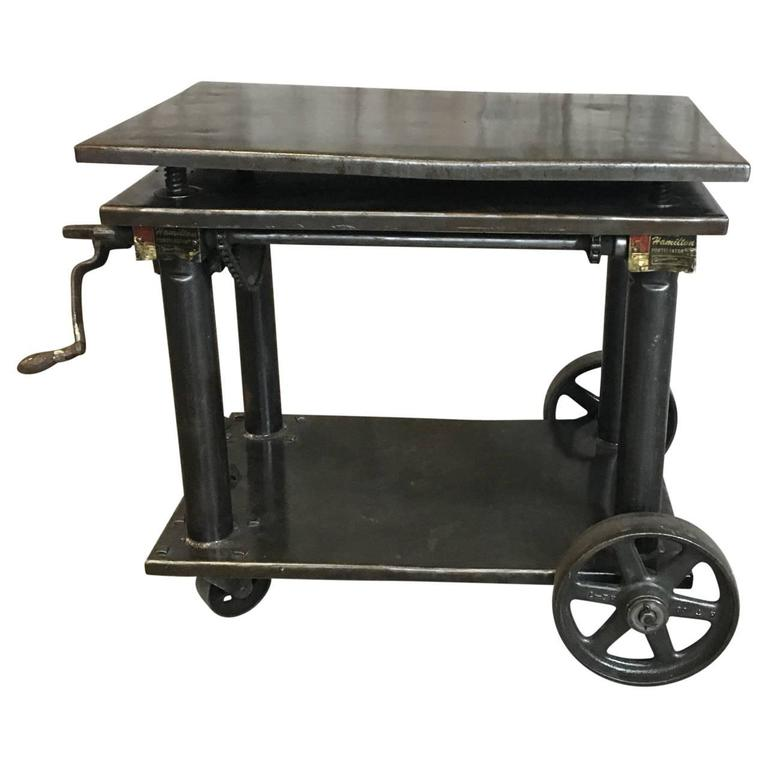 Industrial Lift Bar Cart At 1stdibs