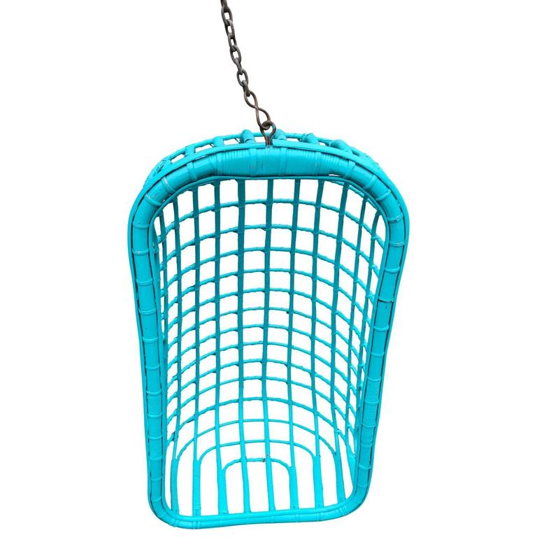 Hand-Painted Vintage Turquoise Painted Rattan Swing Lounge Chair For Sale