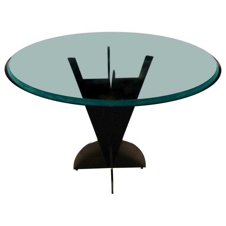 American Mid Century Modern Atomic Age Small Patio Round: American Modern Steel Dining Table With Round Tinted Glass