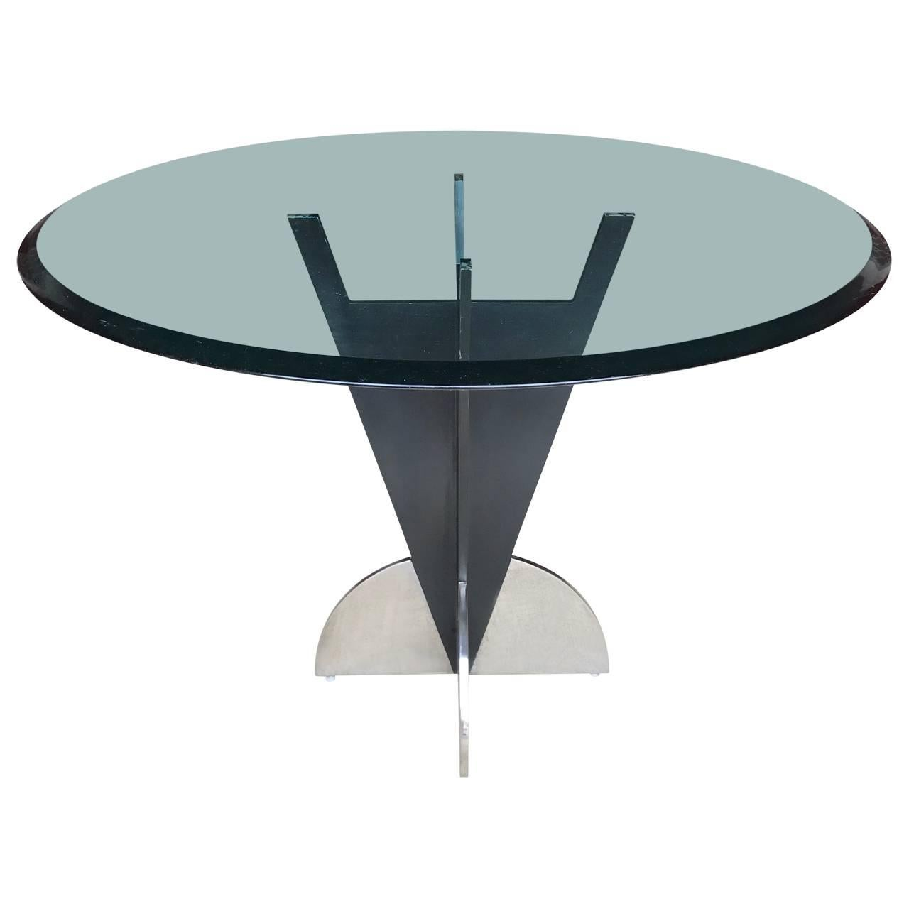 Round Brass Tubular Dining Table with Marble Top For Sale at 1stdibs