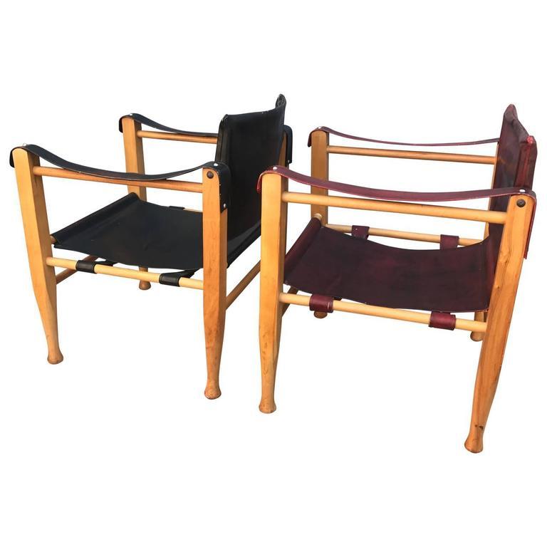 Two Mid-Century Modern Safari Chairs