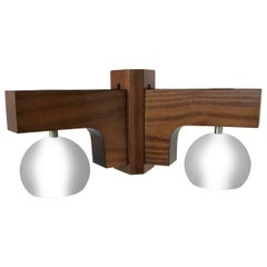 Mid-Century Modern Italian Wooden and Chrome Chandelier