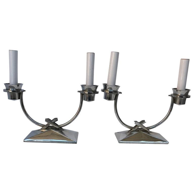 Two small chromed bedside table lamps, newly wired.  Chromed brass.