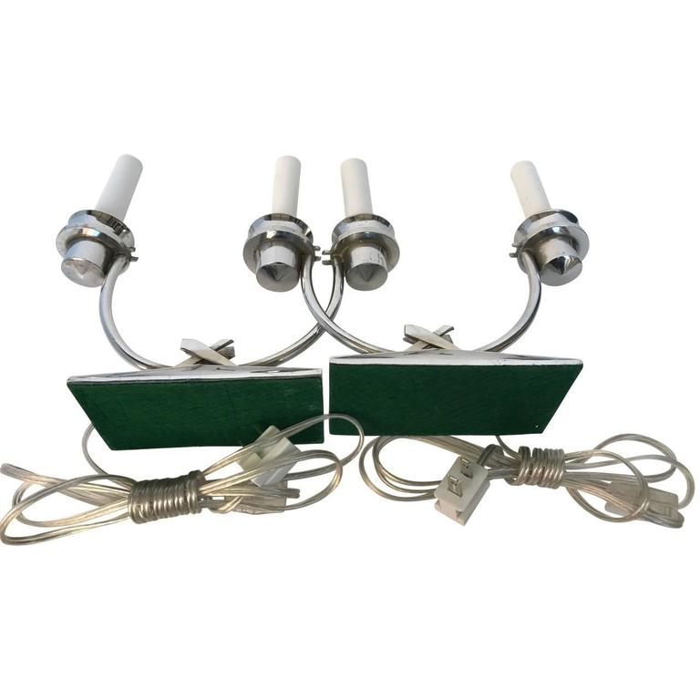 American Pair Of Chromed Art Deco Table Lamps For Sale