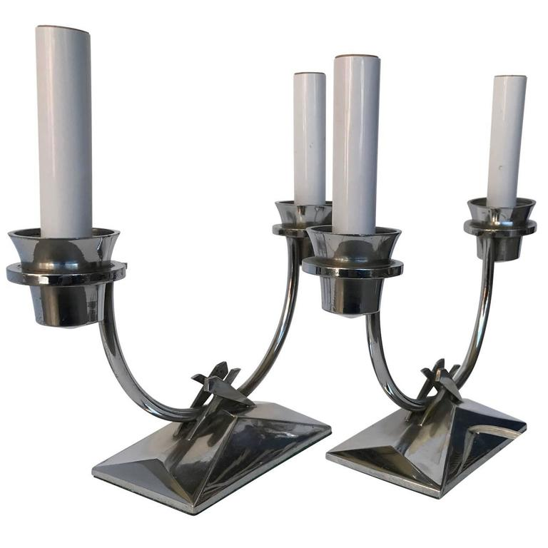 Pair Of Chromed Art Deco Table Lamps For Sale 5