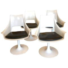 Set of Four White Mid-Century Modern Chairs