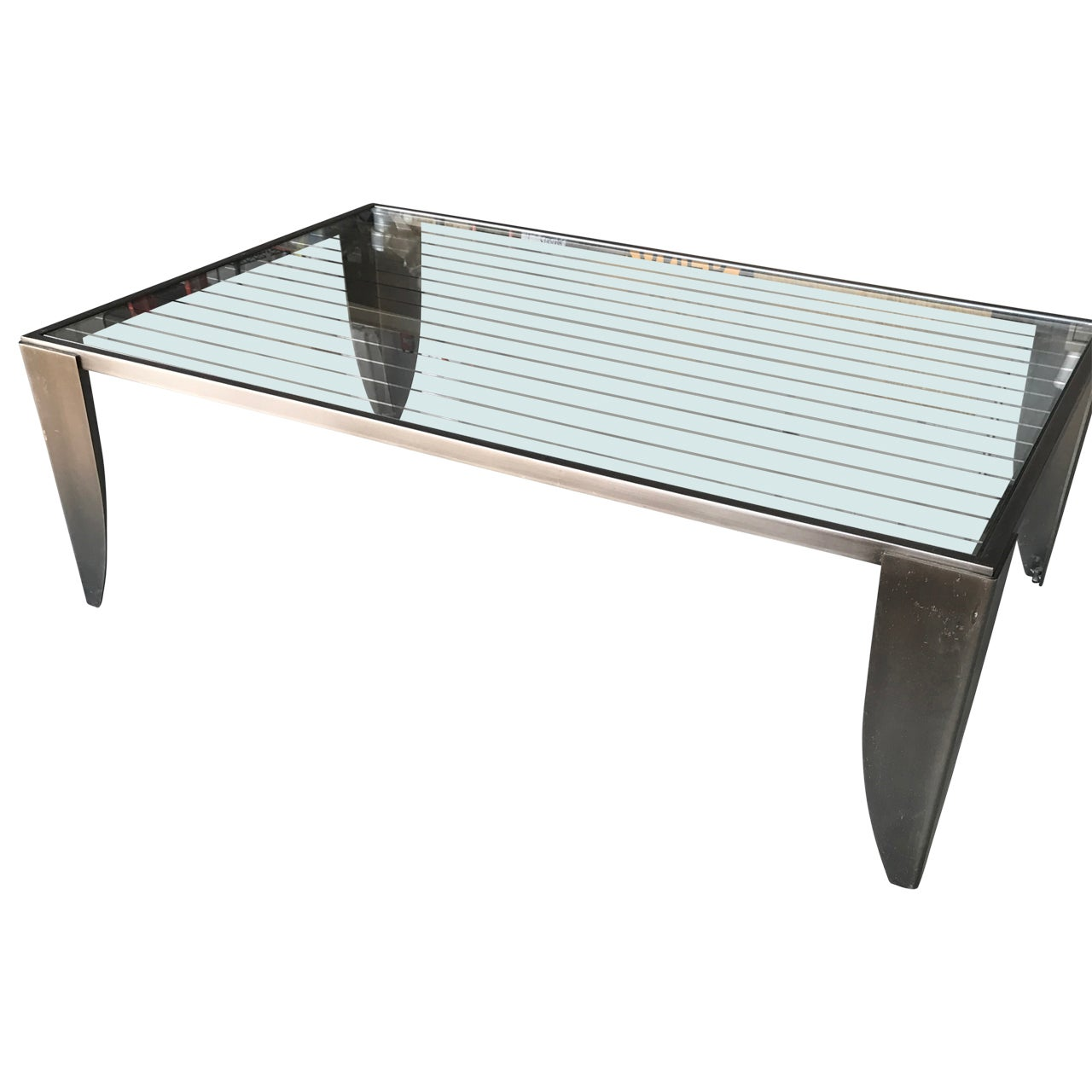 Modern Steel And Glass Top Cocktail Table