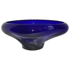 Cobalt Blue Glass Bowl On Stand
